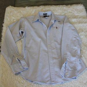 Ralph Lauren Blue & White Long Sleeve Shirt